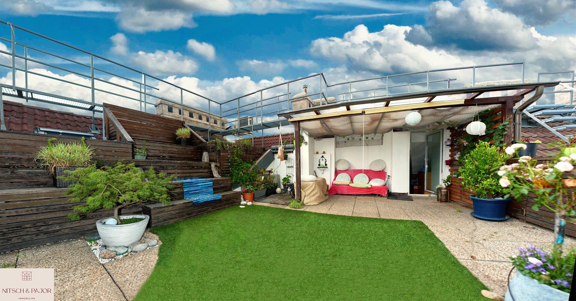 Dachterrasse im Sommer