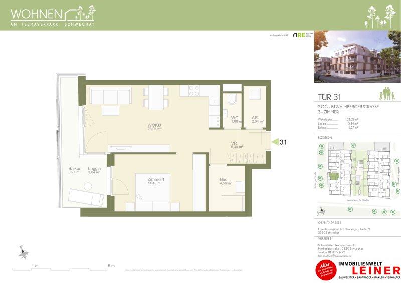 Provisionsfreie Mietwohnung - 2 Zimmer mit Loggia & Balkon - Niedrigenergiehaus - Neubau Objekt_13149 Bild_157