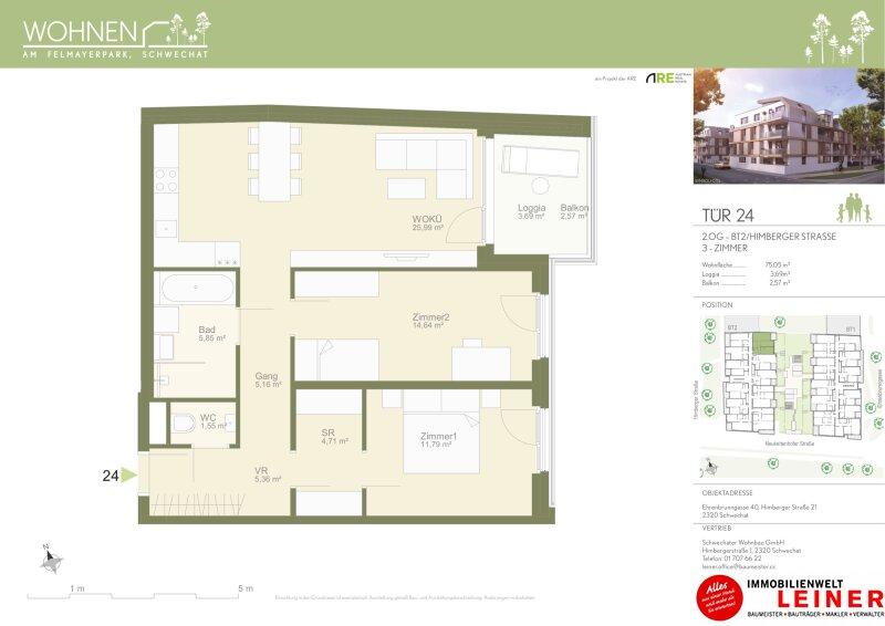 Familientraum - Mietwohnung in Schwechat - 3 Zimmer - Neubau - Loggia & Balkon - Provisionsfrei Objekt_13832 Bild_66