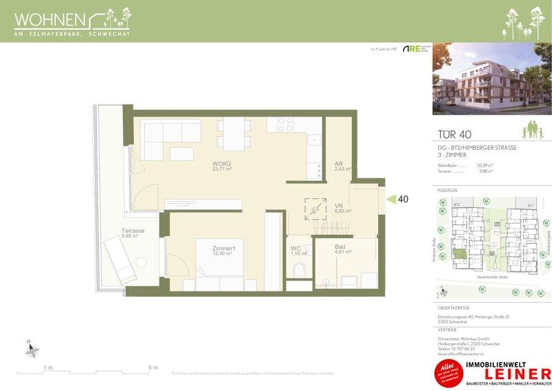 Modern & zentral mit Blick auf den Felmayergarten - Provisionsfreie Mietwohnung - Terrasse - 2 Zimmer - Erstbezug Objekt_13834 Bild_78