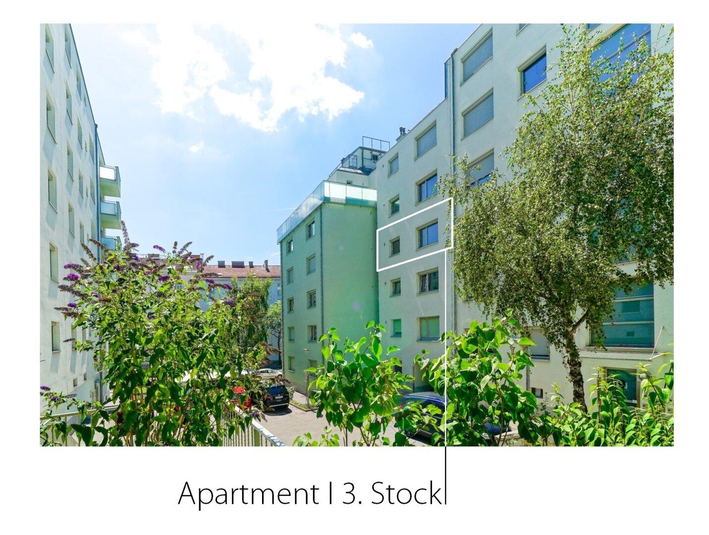 Lage der Wohnung im Haus - Innenhofseite