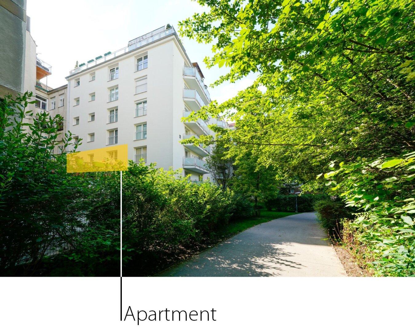Blick vom Alois-Drasche-Park zur Wohnung (Elternschlafzimmer, Kinderzimmer, Küche)