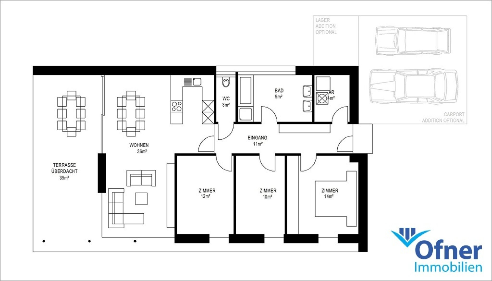 Grundriss 100 m² Wfl.