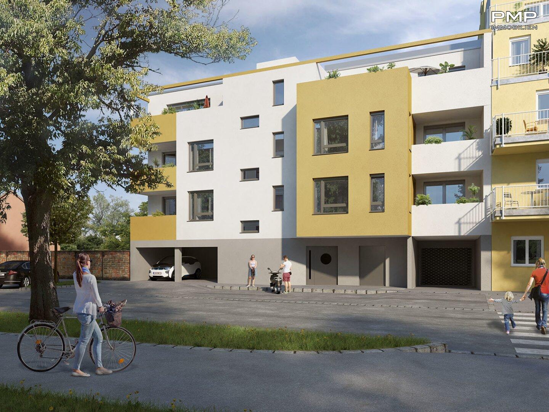 Bankmannring 2 - Straßenansicht (kann vom fertiggestellten Projekt abweichen) © Hannes Tallafuss
