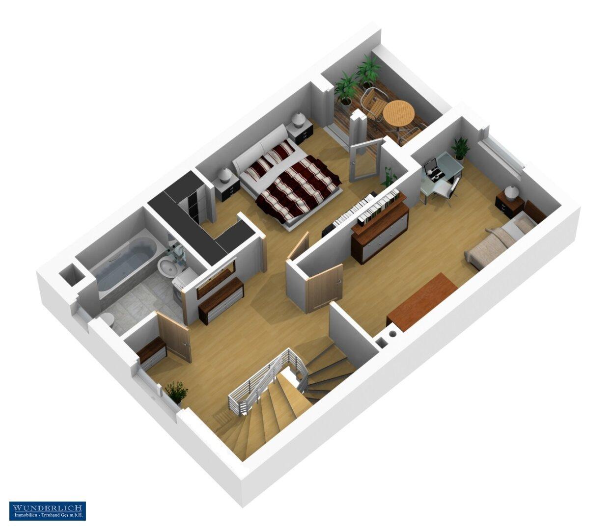 3D-Visualisierung 2 - Obergeschoß