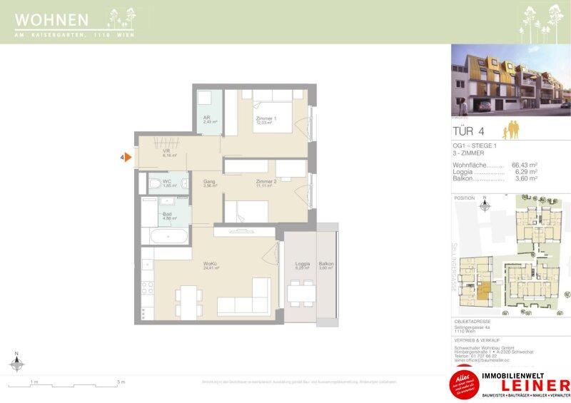 Familienpackung - 3 helle, moderne Zimmer mit Balkon & Loggia - Provisionsfrei - Erstbezug 1110 Objekt_15332 Bild_183