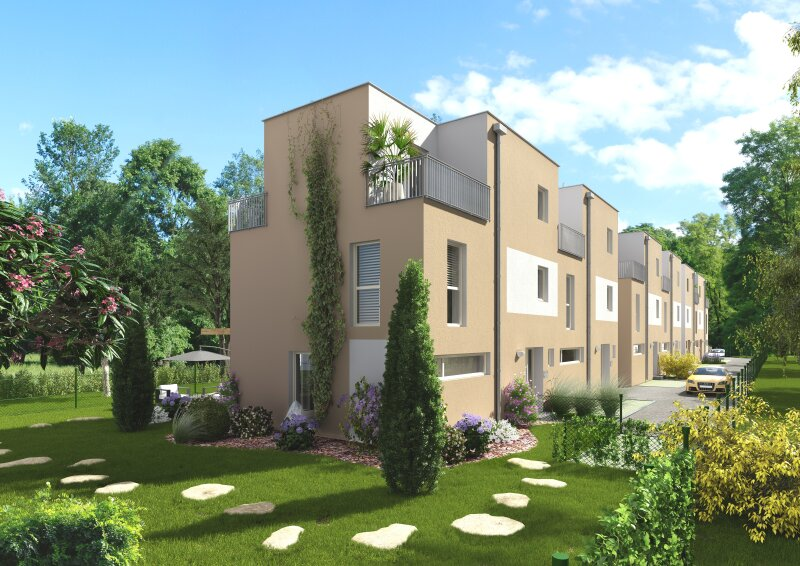 Neue, moderne Doppelhaushälfte mit großem Garten und Fernblick