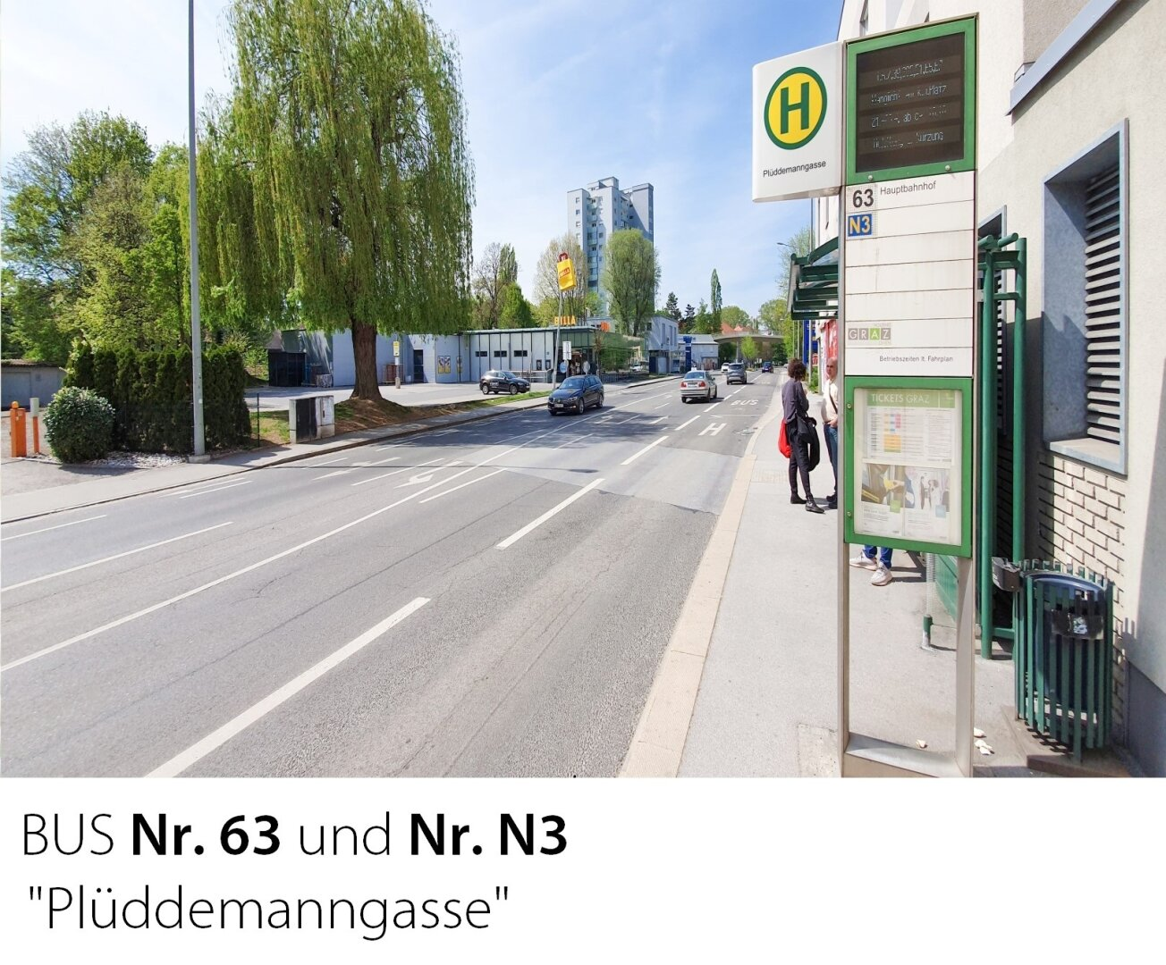 Buslinie 63 und N3 Plüddemanngasse