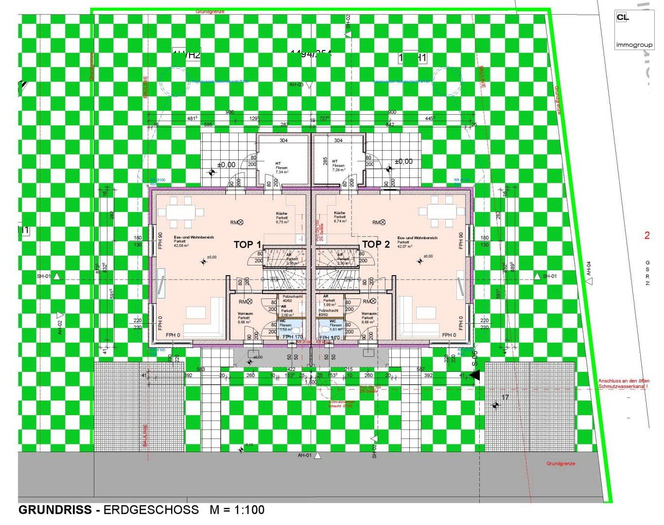 Grundriss Erdgeschoss Doppelhaushälfte