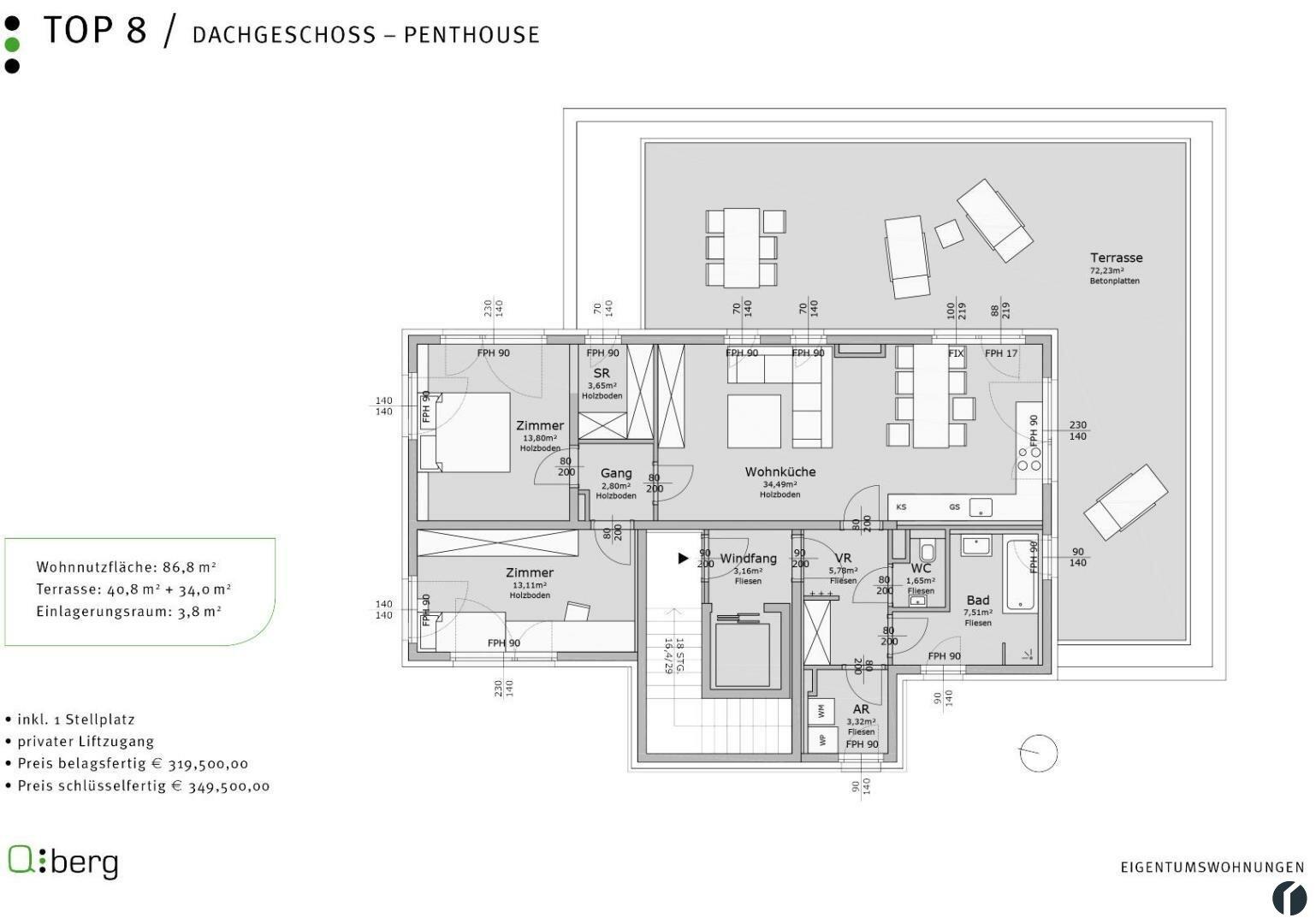 Plan Stiege 2, Top 8 Penthaus