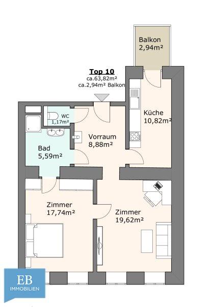 WOHNEN IM ALTBAU  / 2 Zimmer / Erstbezug / Balkon /  / 1180Wien / Bild 7