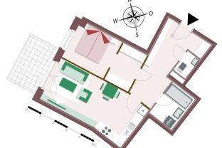2-Zimmerwohnung mit viel Stauraum und Balkon