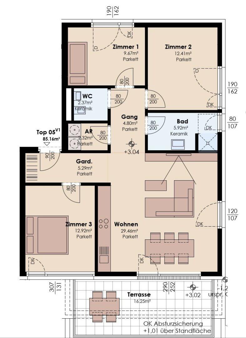 4-Zimmer-Variante 1