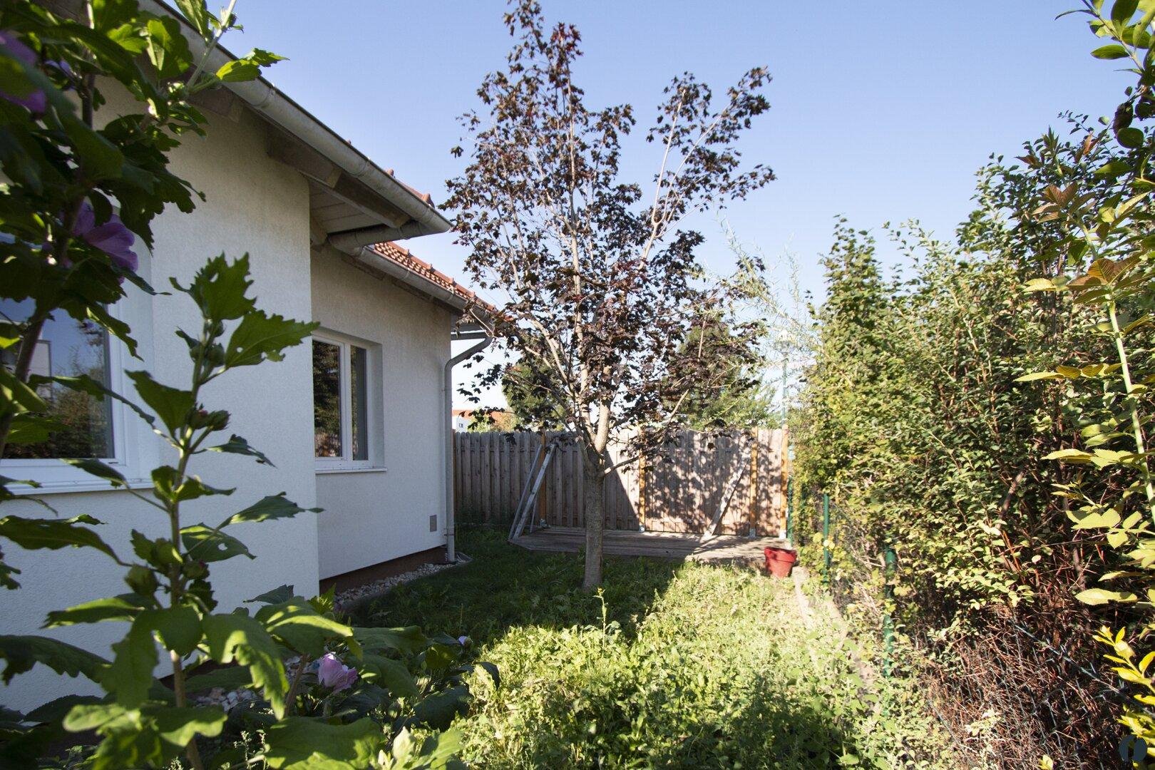 geschützter Garten hinter dem Haus
