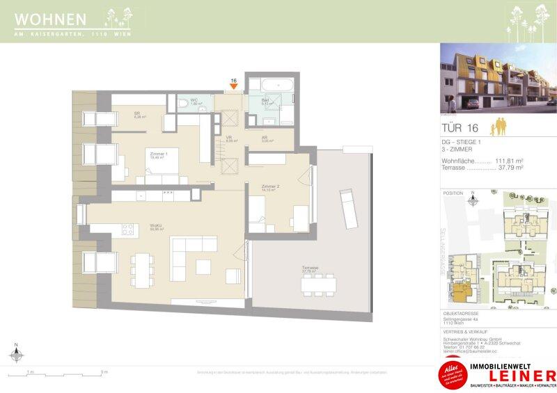 Eine Wohnung die die Seele berührt - Dachgeschosswohnung mit 37,79m² sonniger Terrasse - Provisionsfrei - Familientraum mit 3 Zimmern Objekt_15337 Bild_228