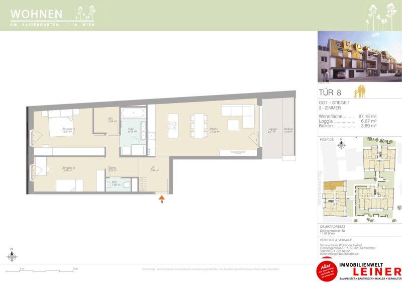 Geniale Wohnung! Erstbezug - 3-Zimmer-Eigentumswohnung- ohne Provision mit Balkon - 1110 Wien Objekt_15334 Bild_202