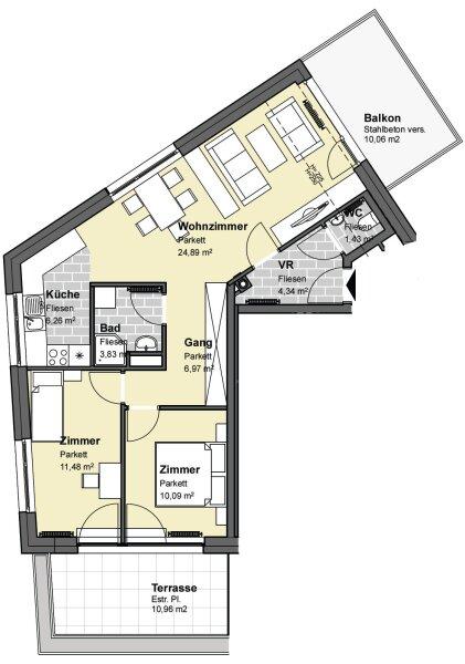 Moderne Neubaumietwohnung mit Terrasse in der Johannesgasse 43 Top 17, Wolkersdorf /  / 2120Wolkersdorf im Weinviertel / Bild 1