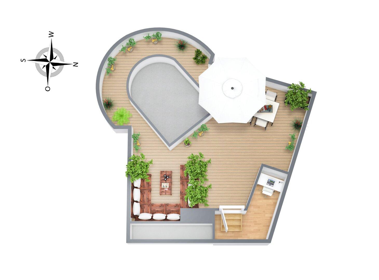 Grundriss 3D Dachterrasse