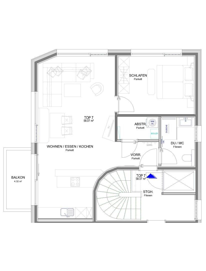 Mietwohnungen Ellmau, Grundriss Top 7