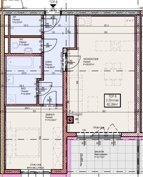 Top 8 - Zwei-Zimmer-Wohnung mit Balkon. Eine echte Rückzugsnische /  / 2700Wiener Neustadt / Bild 9
