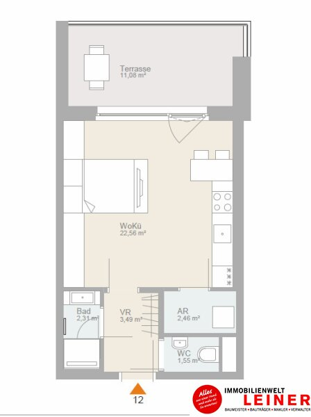 Willkommen Zuhause in 1110 Wien- 1-Zimmer Wohnung mit 11,08m² sonniger Terrasse Objekt_11418 Bild_342