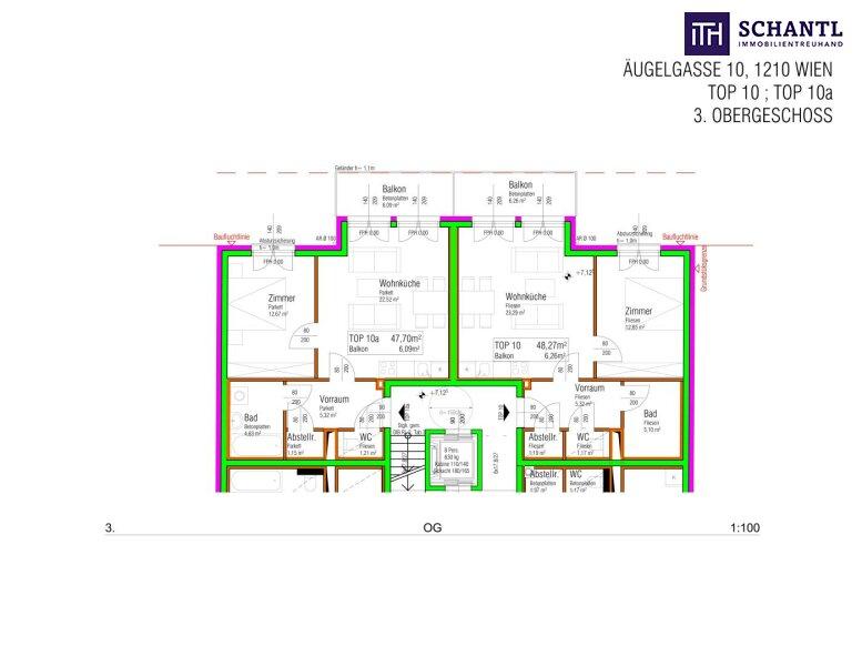 Lebensqualität pur! 2 Zimmer Wohnung mit großem hofseitigen Balkon! Ruhelage + TOP Neubau - Erstbezug! /  / 1210Wien / Bild 3