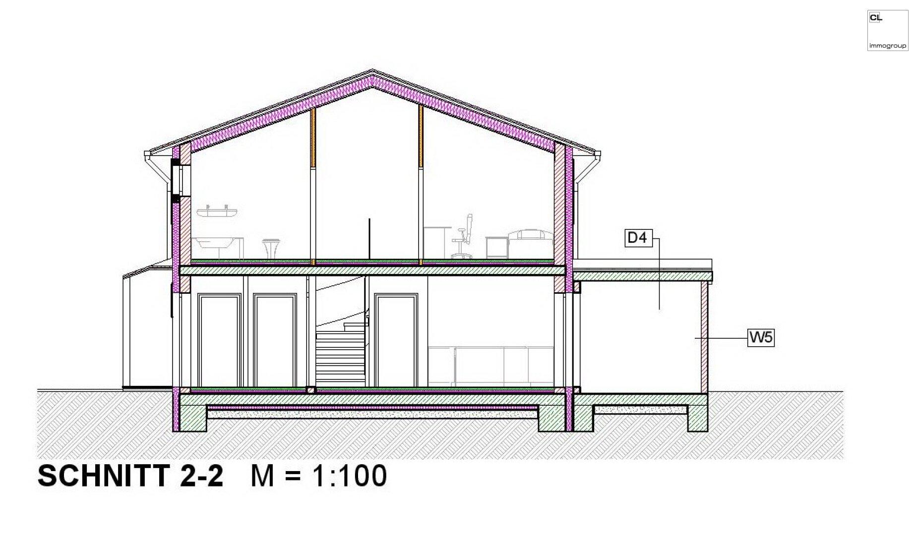 Schnitt 2 - Doppelhaushälfte