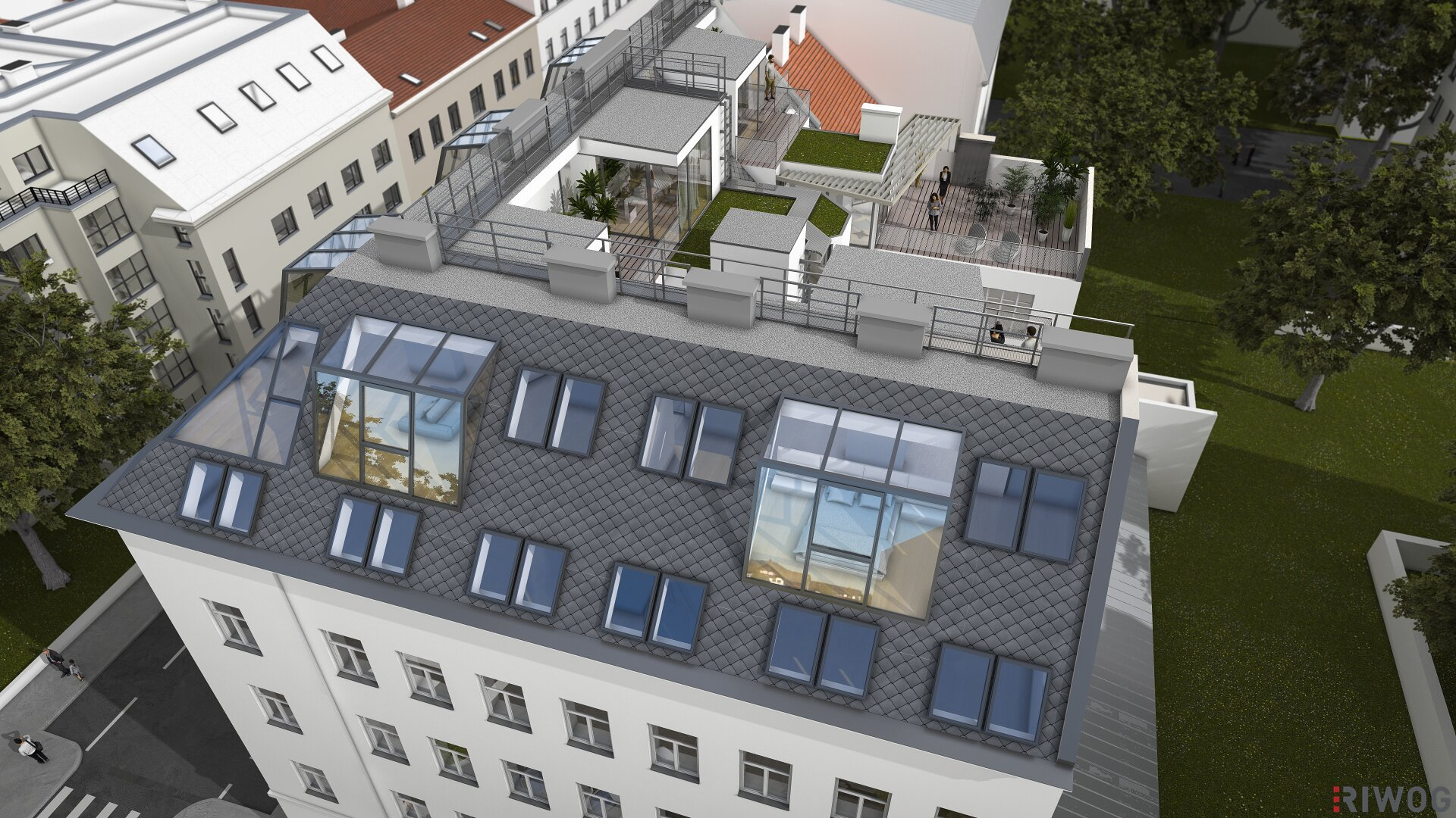 SKYLINE 16 - Dachgeschosswohnungen auf höchstem Niveau mit großzügigen Außenflächen (Projektansicht)