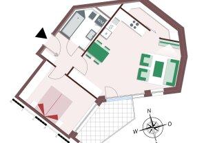 2-Zimmer - viel Stauraum - gemütliche Loggia