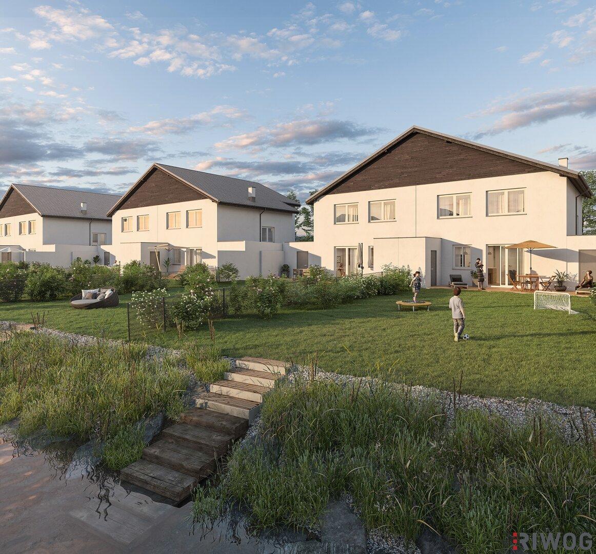 WOHNEN AM SPIEGELWASSER - Moderne Doppelhaushälften mit eigenem Badeteich (Projektansicht)