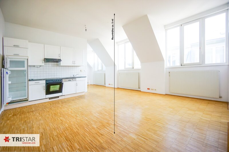 NEU! + Unbefristet! + großzügige 3 Zimmer DG-Wohnung + Raumhöhe 3 m! + ca. 1-2 Min. zu Fuß vom Augarten entfernt  + 1020 Wien!