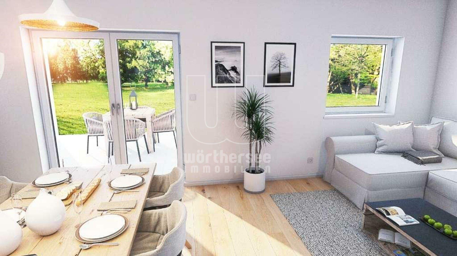 Visualisierung: Wohnzimmer mit Blick in den Garten