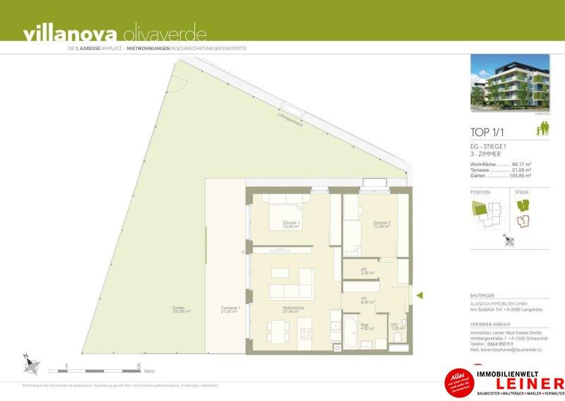 *UNBEFRISTET* Schwechat - 3 Zimmer Mietwohnung mit 104 m² großem Garten und Terrasse Objekt_9872 Bild_599