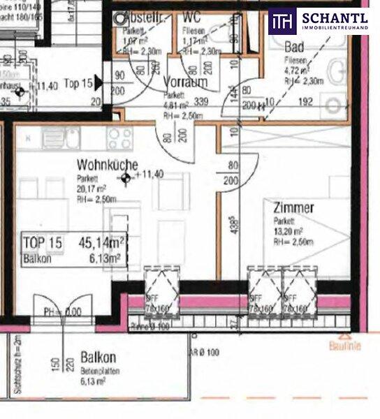 TOP Preis! Erstbezug im Dachgeschoss nahe am Wasser! Balkon + Perfekte Raumaufteilung + Ruhelage! Nicht zögern! /  / 1210Wien / Bild 3