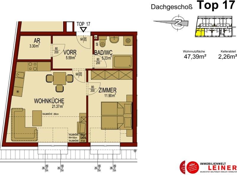 Himberg Zentrum - sehr schöne 50m² Dachgeschoßwohnung - sofort beziehbar Objekt_8899 Bild_853