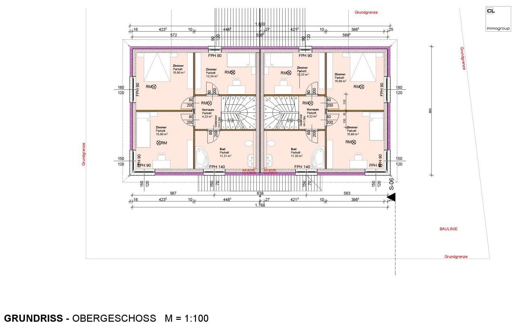 Grundriss Obergeschoss Doppelhaushälfte