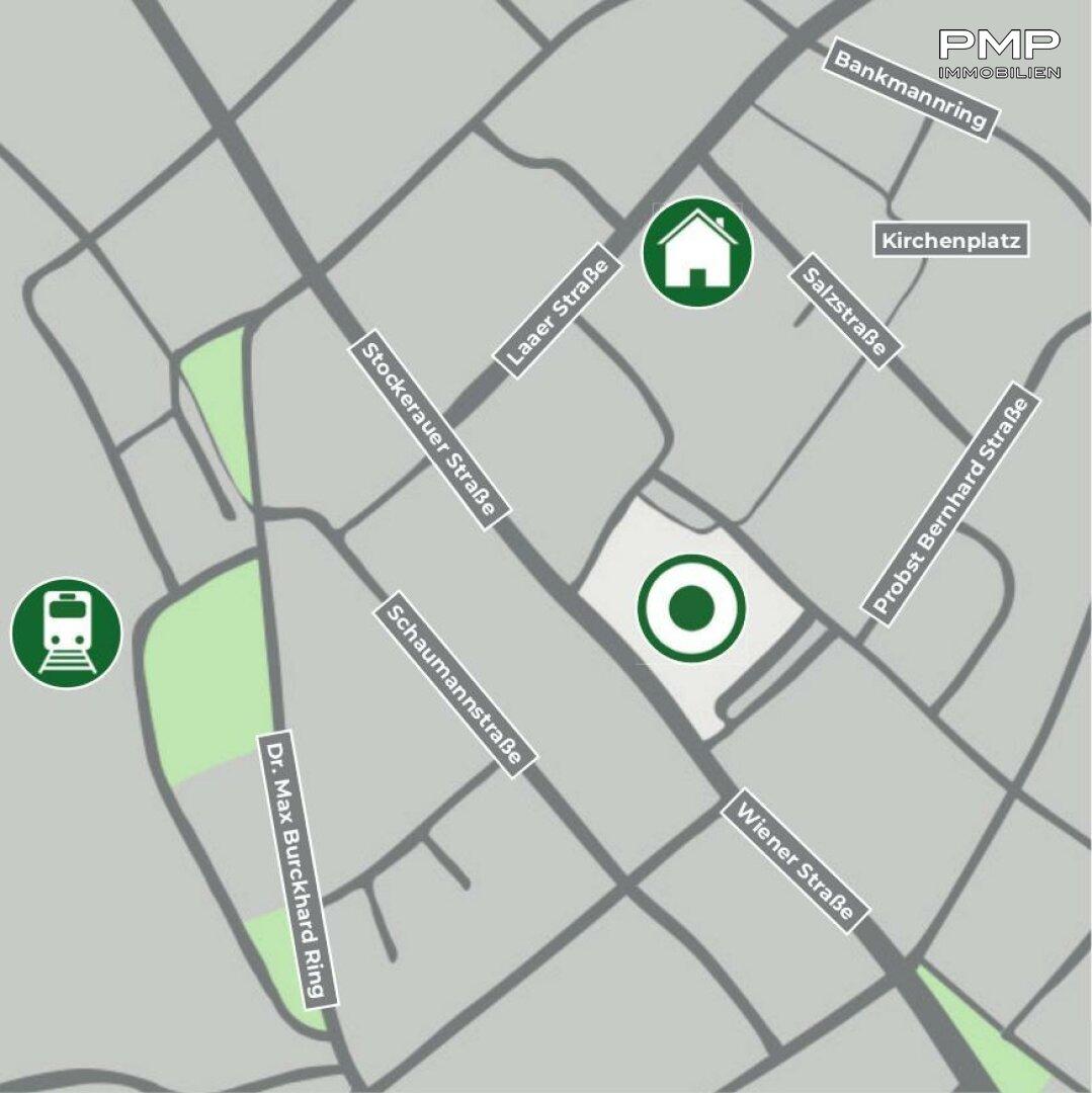 Lageplan - zwei Minuten ins Zentrum, fünf Minuten zum Bahnhof