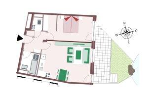 2-Zimmerwohnung mit Garten und Biotop-Zugang