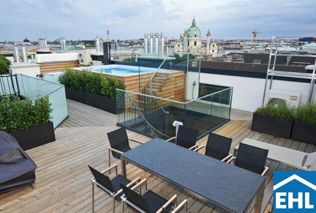 Exklusive Penthouse Dachgeschosswohnung mit Aussicht über den Karlsplatz