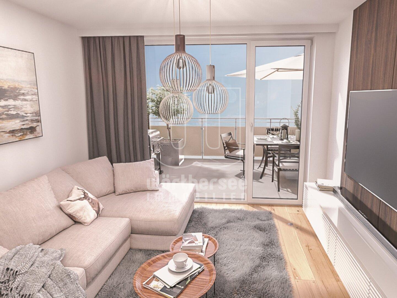 Beispielvisualisierung: Wohnzimmer mit Balkon