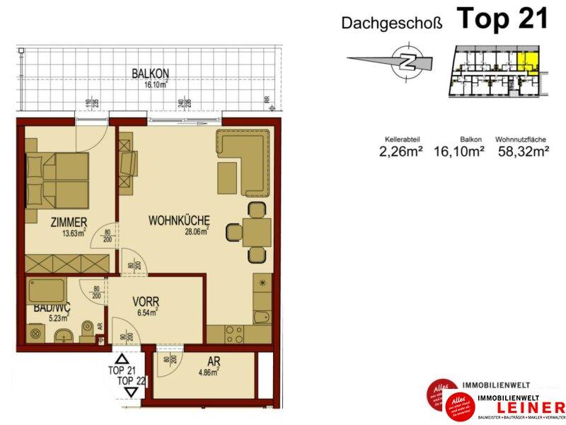 Wunderschöne Dachgeschoßwohnung mit Terrasse direkt im Zentrum Himberg Objekt_8898 Bild_208