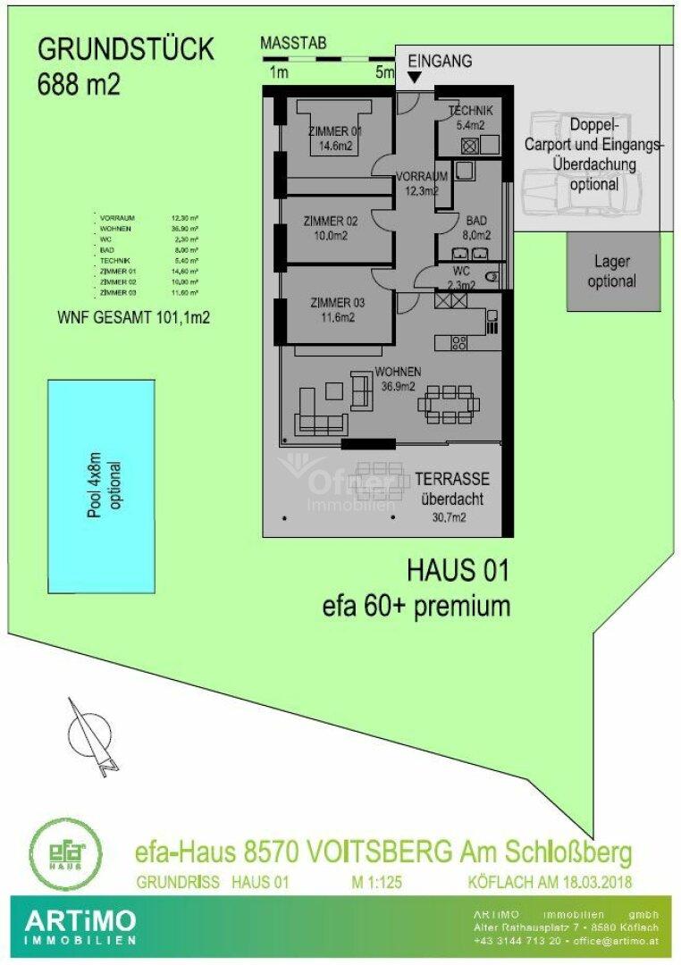 Grundriss Einzelhaus Schloßberg Voitsberg - Vorentwurf