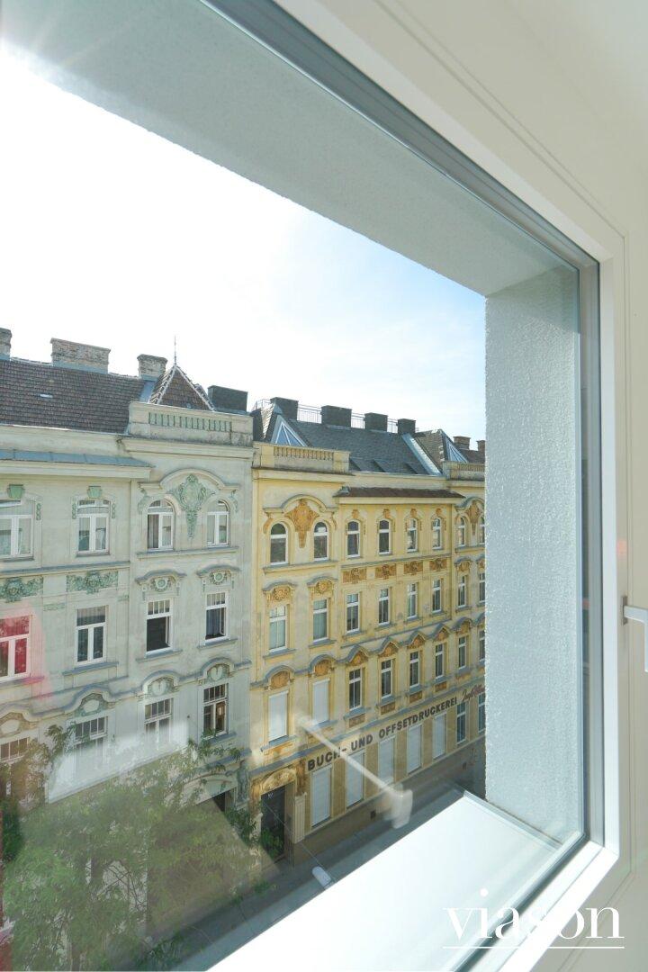 Blick aus dem Badezimmerfenster