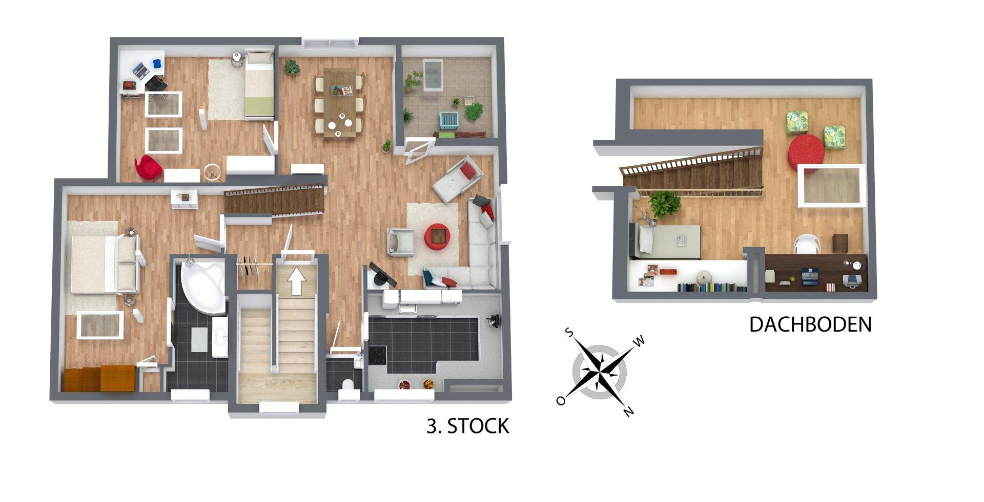 3D_Grundriss_3. Stock + Dachboden