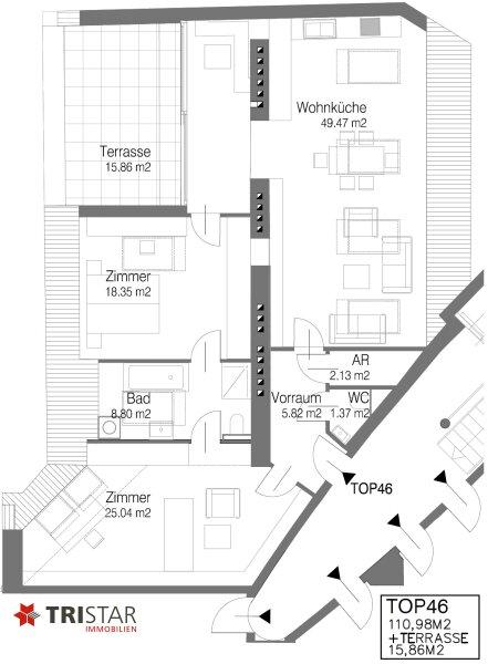 Hochwertig errichtete 3 Zimmer DG-Wohnung mit großer Wohnküche, Bad, separater Toilette und Terrasse, in wunderschöner Innenhofruhelage! /  / 1100Wien / Bild 10