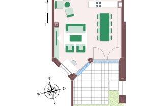 8003 – Wunderschöne Stadtvilla mit 4 Zimmern, Dachgarten und Garten mit Zugang zum Biotop