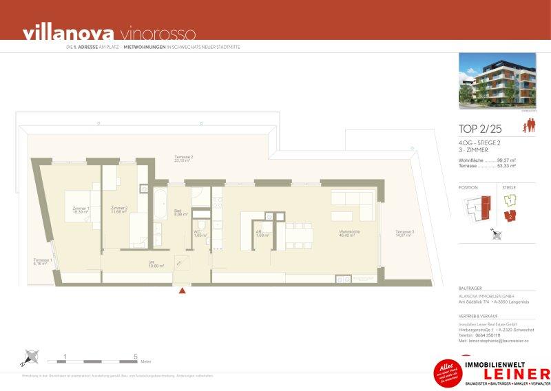 100 m² PENTHOUSE *UNBEFRISTET*Schwechat - 3 Zimmer Penthouse mit 54 m² großer südseitiger Terrasse Objekt_15296 Bild_147