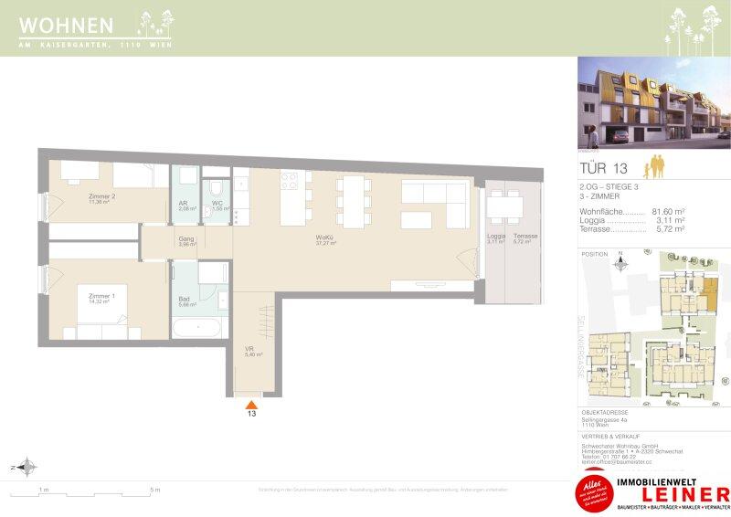 Diese Schönheit berührt - 3 Zimmer Eigentumswohnung - Provisionsfrei - mit Terrasse & Loggia - 1110 Wien Objekt_15346 Bild_315