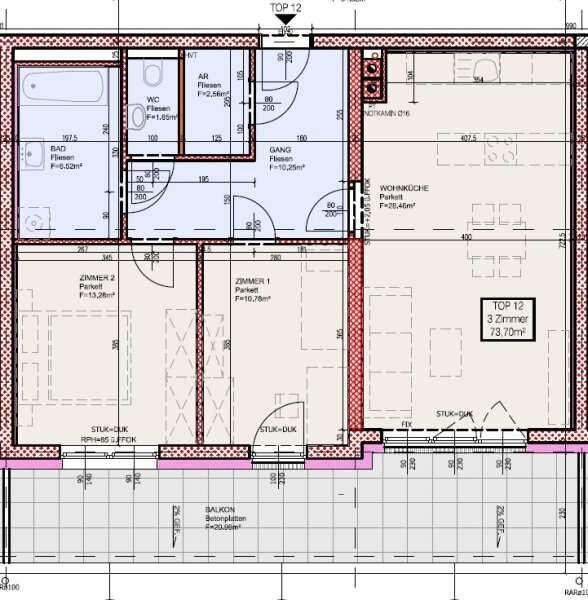 Top 12 - Drei-Zimmer-Wohnung mit großem Balkon. Zum Sonne tanken /  / 2700Wiener Neustadt / Bild 9