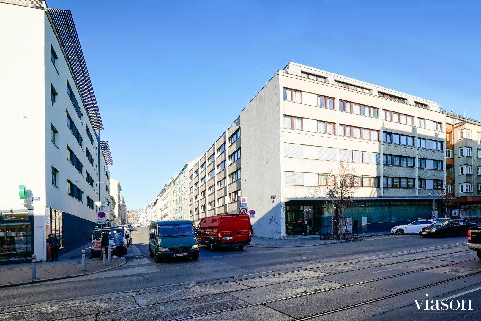 Fassadenansicht Linzer Straße Ecke Flachgasse